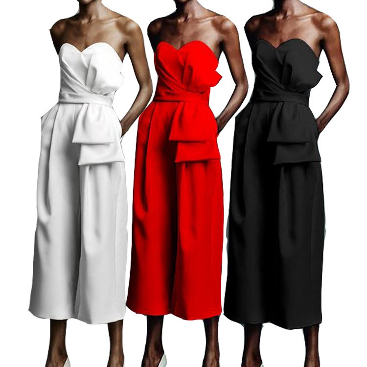 Women Sexy Slash Neck High Waist Jumpsuits 2019 Summer Pleated Sleeveless Wide Leg Overalls Straight Solid Long Loose Rompers in Jumpsuits from Women 39 s Clothing
