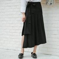 2017 Women S Summer Autumn High Waist Irregular Length Solid Ruffle Long Midi Skirt Bow Lacing