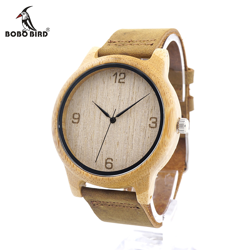 BOBO BIRD V-L09 Mens Watch Analog Quartz Causal Bamboo Wooden Clock With Leather Band In Gift Box Relogio Masculino