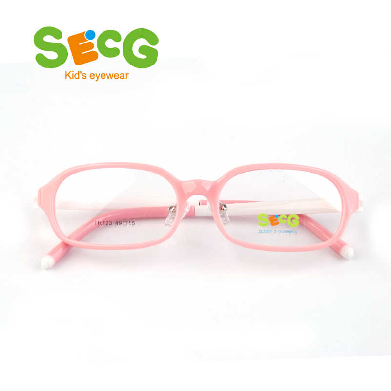 SECG Flexible Spring Hinge Kids Frame Optical Hyperopia Myopia Glasses Clear Children Frame Nose Clip Lunettes Oculos Eyeglasses
