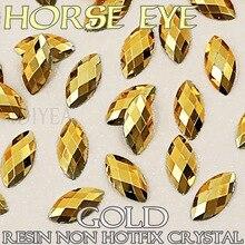 Good quality! 3x6mm 4x8mm Gold Aurum Nail Art Horse Eye Resin Crystal Non Hotfix Flat back Rhinestone glitters for 3D Stone