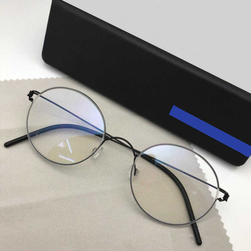 Buatan Tangan Titanium Vintage Optik Resep Kacamata Bulat Bingkai Ringan Gaya Korea Retro Oculos Di Grau De untuk Pria Wanita