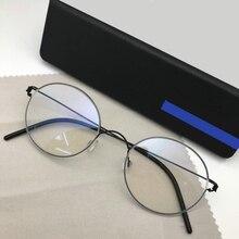 Feito à mão titânio vintage prescrição óptica óculos redondos quadro leve estilo coreano retro oculos de grau para homem