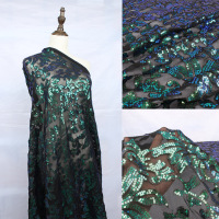 Glitzy Iridescent Green Stretch Mesh Sequin Embroidery Fabric Elastic Lace Fabric for wedding dress party events 50 wide 1 yard