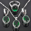 Egg Design Green Created Emerald Women's 925 Sterling Silver Jewelry Sets Earrings/Pendant/Necklace/Rings Free Shipping QZ011