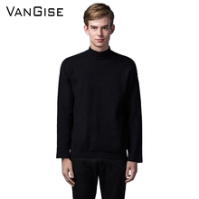 VanGise Men Turtleneck Sweater Knitted Sweaters Wool Pullover O-Neck Shirt Mens Knitwear Brand-Clothing Fashion Tops Plus Size