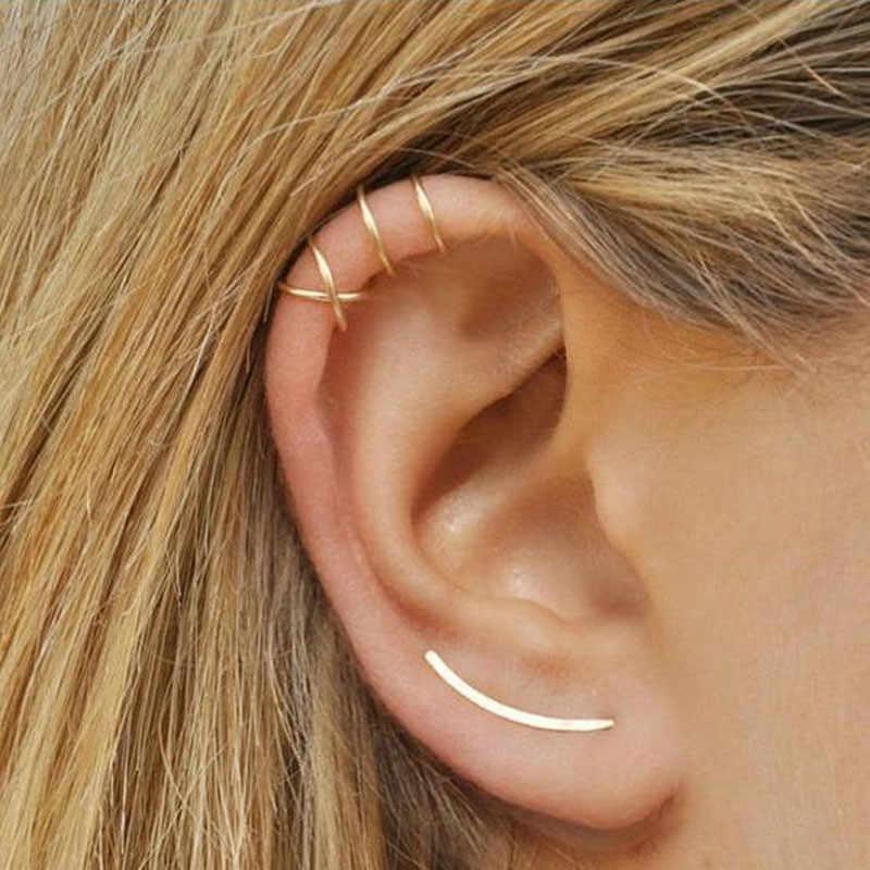 1piece Fashion personality simple cross double C cartilage U shaped double no pierced clip earrings for women Ear jewelry Gifts