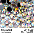 Flatback Round 1440pcs 10 Cuts SS4-SS50 Crystal AB Golden Light DMC Hotfix Rhinestones for Clothing Accessories
