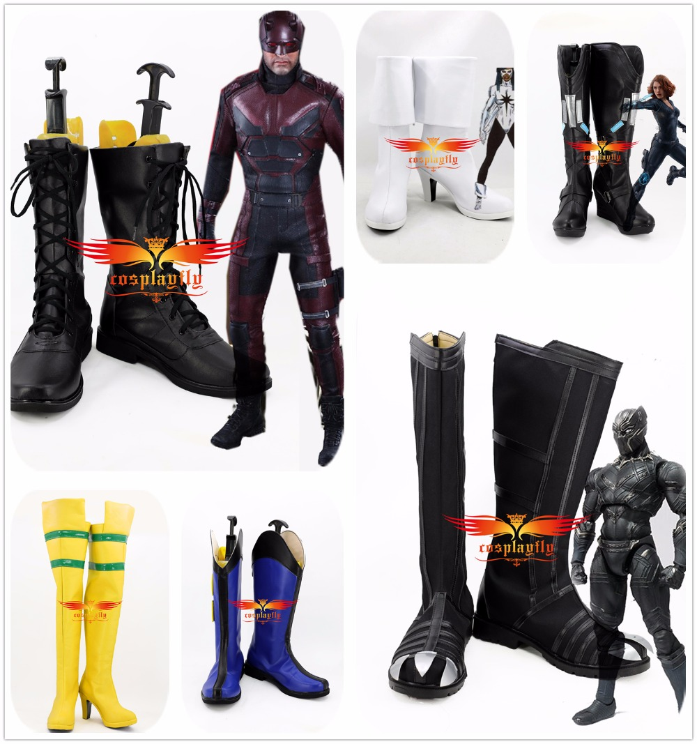 Movie Daredevil/Black Widow/Black Panther/Logan Howlett/Rogue Anna Marie/Monica Rambeau Cosplay Shoes Boots Adult Christmas