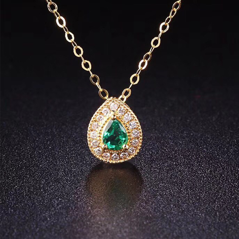 ANI 18K Yellow Gold Emerald Pendant Necklace Real Natural Diamond Fine Color Gemstone Jewelry Women Engagement Chain Necklace