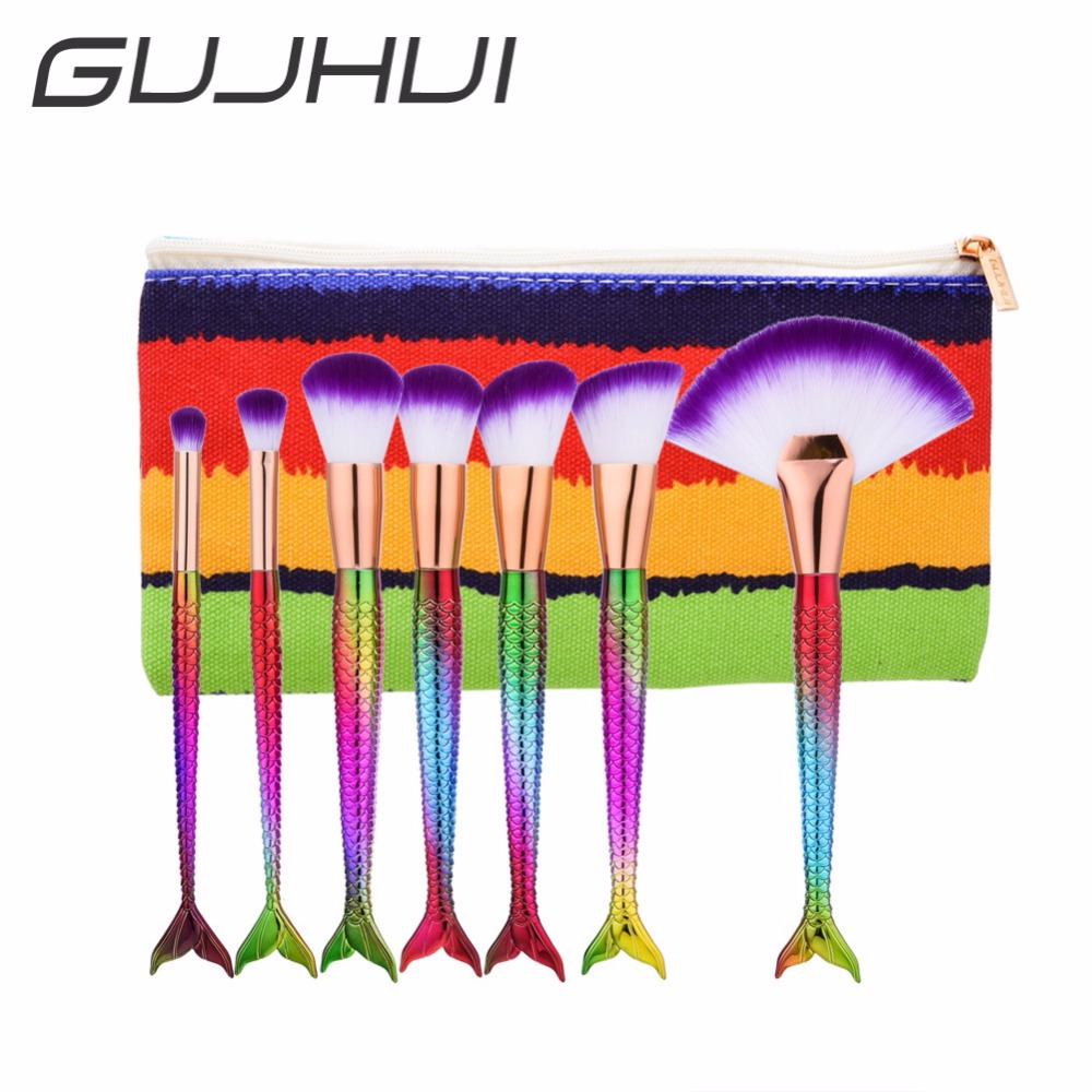 GUJHUI 7Pcs Best Deal Mermaid Rainbow Make Up Foundation Eyebrow Eyeliner Blush Brushes Cosmetic Set with Makeup Bag #238689 best makeup pen machine eyebrow make up