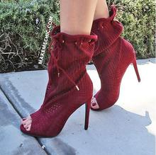 Sexy Red Socks Ankle Boots Peep Toe Lace-up Cut-outs Women High Breathable Strtech Fabric Rubber