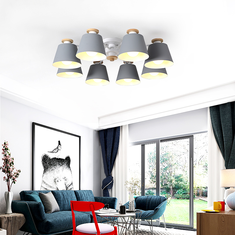 LukLoy Nordic LED sufitowe światło żelazne klosz do salonu oświetlenie wiszące Lamparas Colgantes drewniany połysk