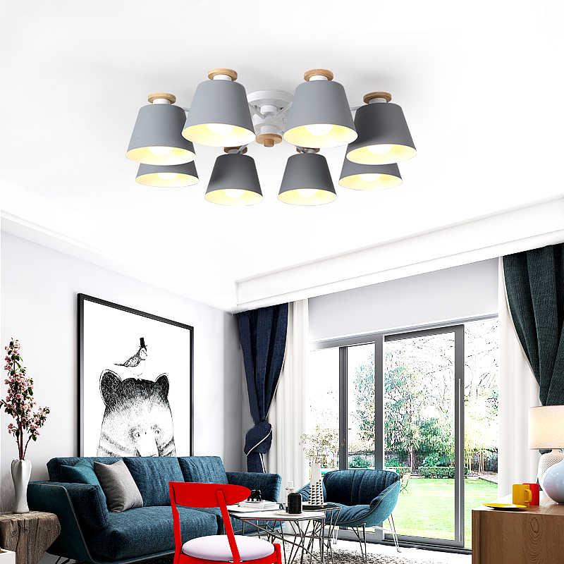 LukLoy, скандинавский светодиодный потолочный светильник, Железный Абажур для гостиной, подвесной светильник, светильники, Lamparas Colgantes, деревянный блеск