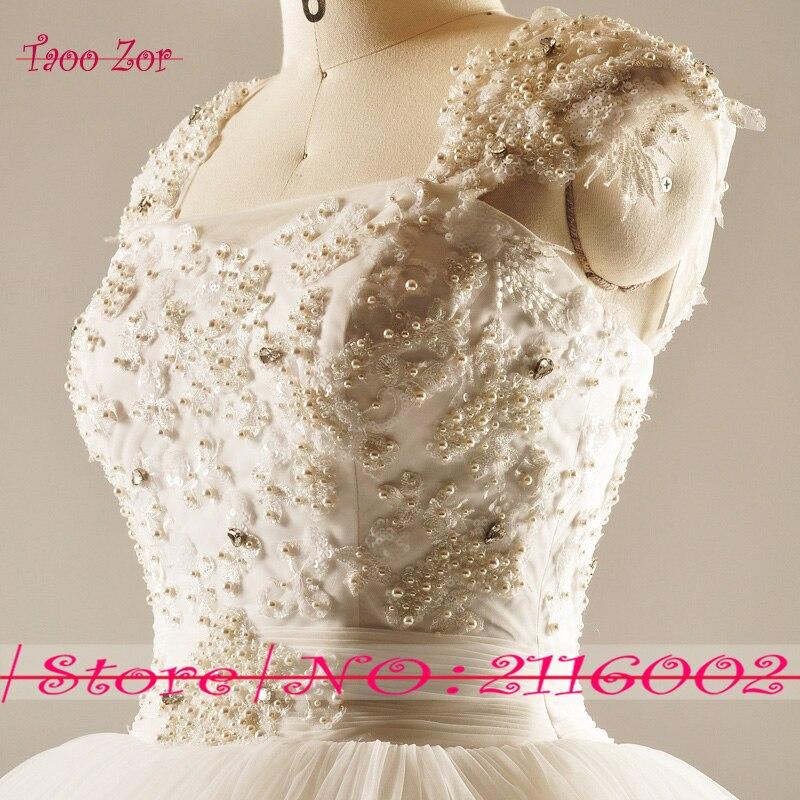 Amdml Much Mărguri Crystal Perle Princess A-Line Lace rochii de - Rochii de mireasa - Fotografie 4