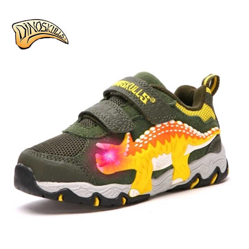Dinoskulls אורות עבור בני led זוהרות נעלי ילדי מותג סניקרס 2017 נעלי ספורט נושמות tenis infantil נעלי דינוזאור 3D