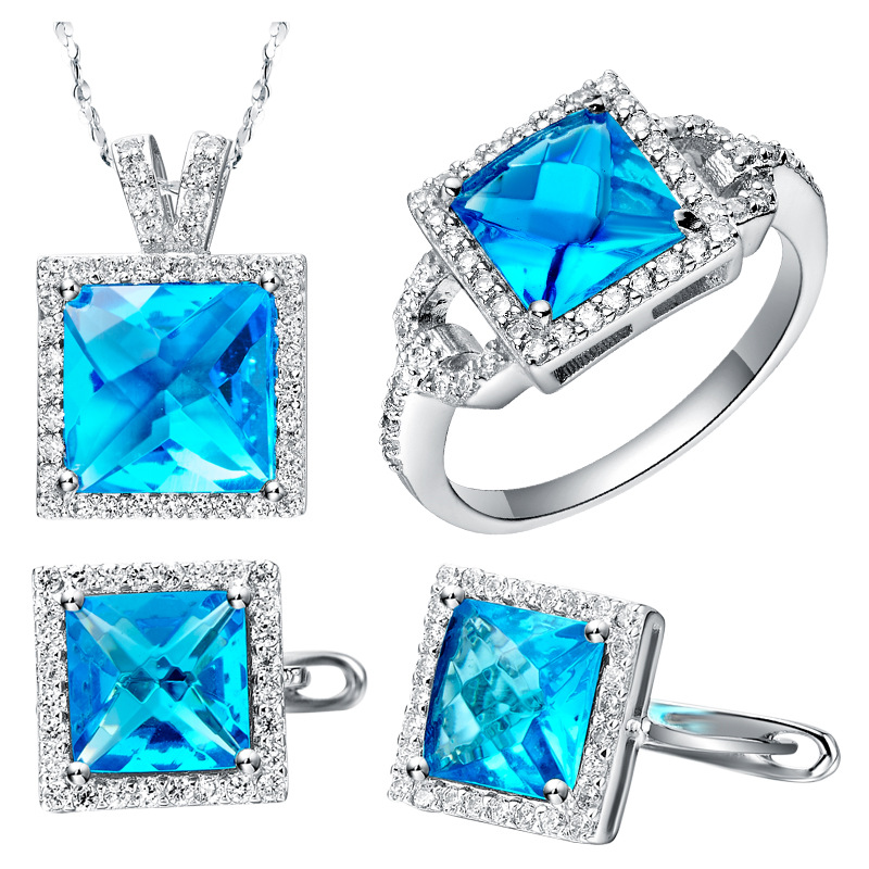 NEW platinum suit set of sea blue zirconia 925 sets sterling silver new foreign trade