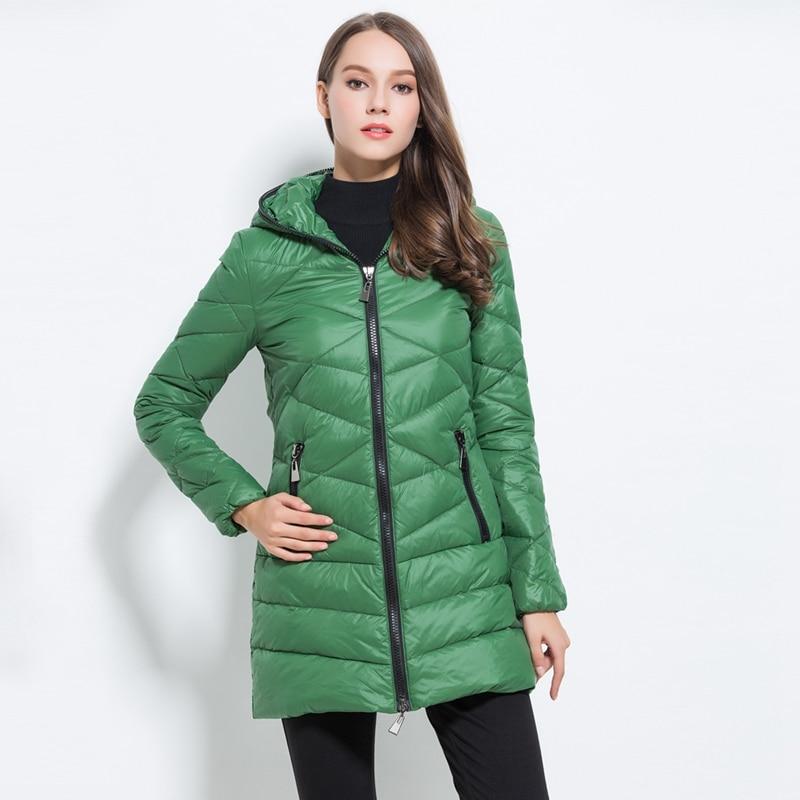 Women's Zipper Hooded Europe American Style Light-Thin Winter Warm Long Coat Down Jackets M.L.XL.2XL
