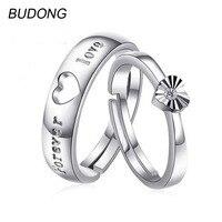 BUDONG זוג זוג לב אהבת טבעת לגברים ונשים Resizable כלה תכשיטי יוקרת טבעת אירוסין 925 טבעת כסף עבור נשים