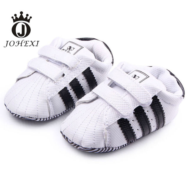 2017 Fashion Three Striped Design Girl/Boy Baby Firstwalker Shoe Newborn Infant Baby Shoe Toddler Soft Patch White/Black 11-13cm