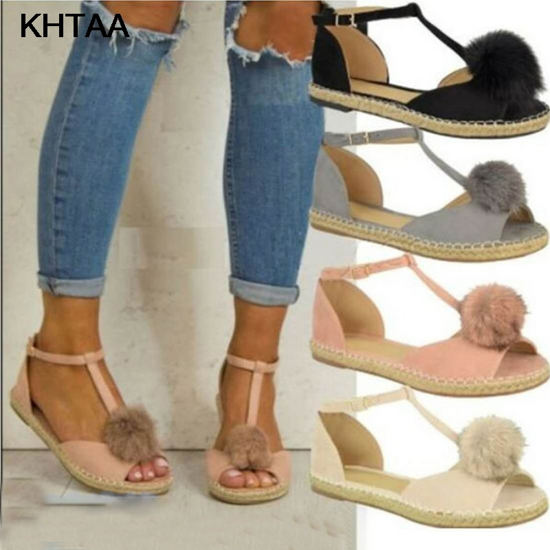 KHTAA Summer Women Gladiator Pompom PU Leather Flat Sandals Ladies T Strap Peep Toe Women Shoes Fashion Casual Footware For Girl