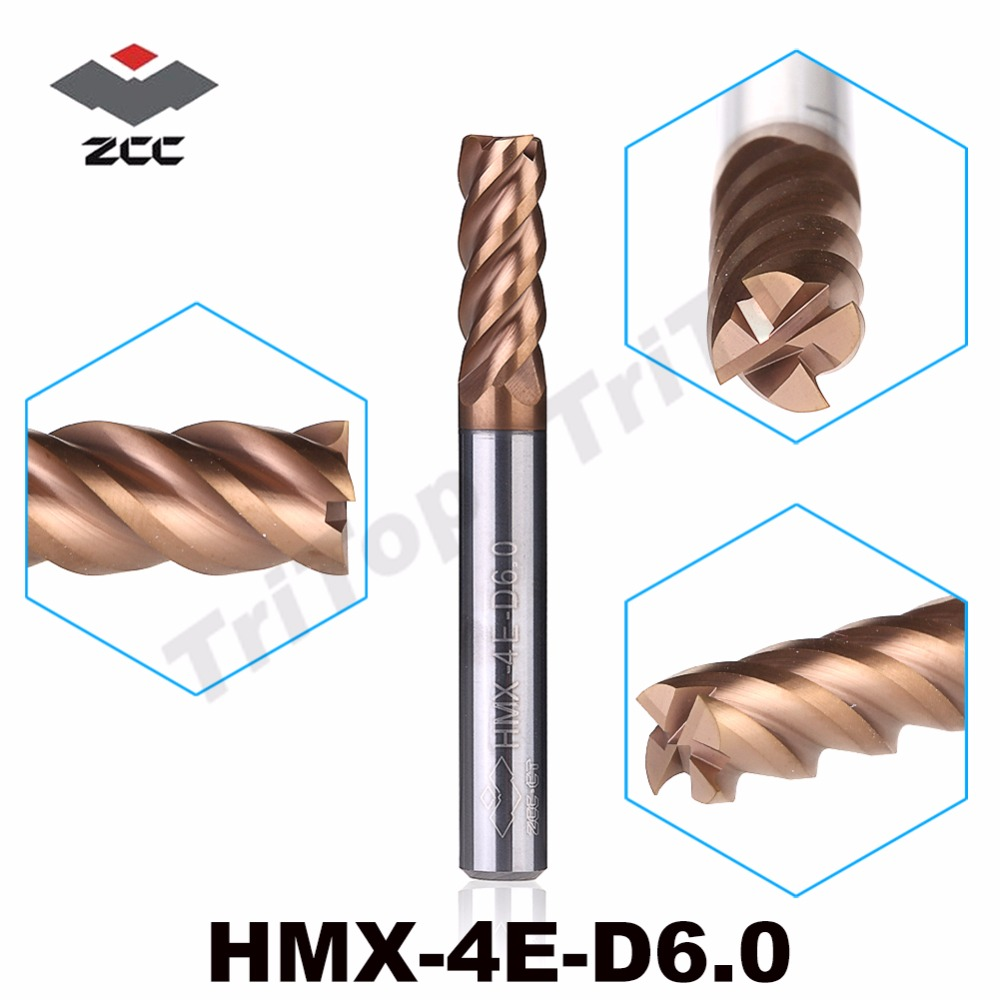 5pcs/lot ZCC.CT HM/HMX-4E-D6.0  Cemented Carbide 4-flute Square Head End Mills  6.0mm For High Hardness Material HRC 0~68