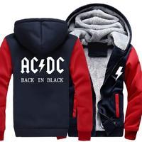 AC DC Hoodie Men Hip Hop Rock Band ACDC Back In Black Sweatshirt Male Casual Streetwear Zipper Hoody Winter Jacket
