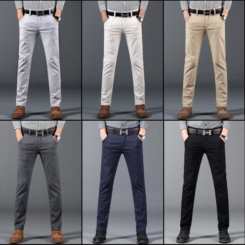 Image 5 - 6 цветов, повседневные мужские брюки, весна 2019, новинка, бизнес стиль, модные, повседневные эластичные прямые брюки, мужские, брендовые, серые, белые, хаки, темно синие-in Повседневные брюки from Мужская одежда
