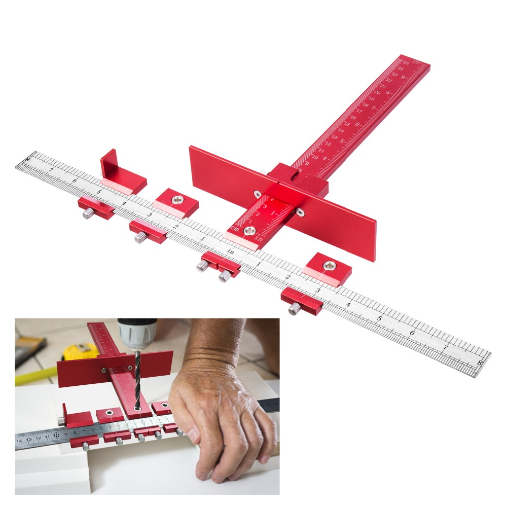 Profession Aluminum Alloy Drill Guide Sleeve Cabinet Hardware Jig Drawer Pull Wood Drilling Dowelling Tools Set
