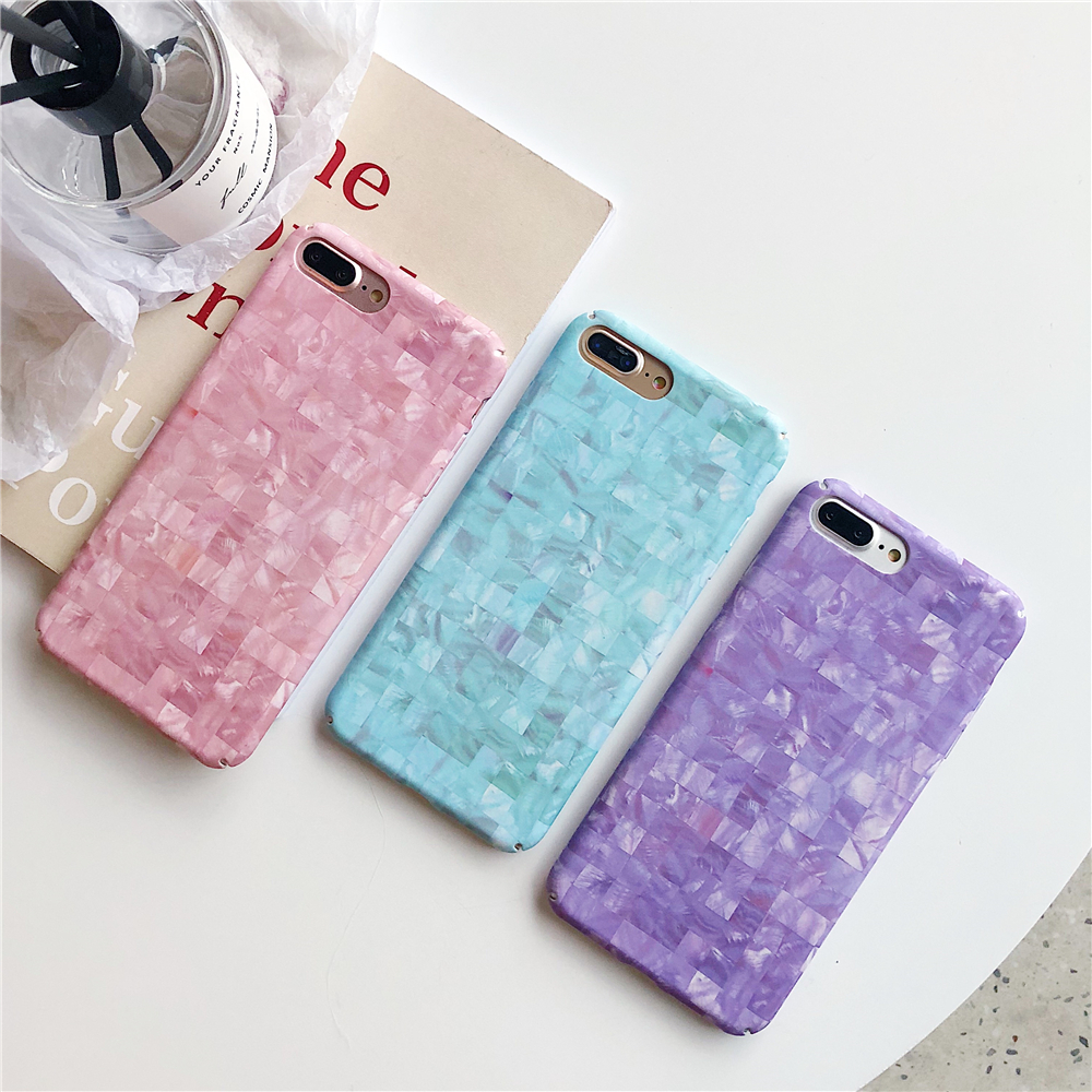 Cases for iPhone 7 Simple Lattice Texture Marble Candy colors Phone Case for IPhone 6S 6 7 8 X Plus Hard Matte Back Cover Coque