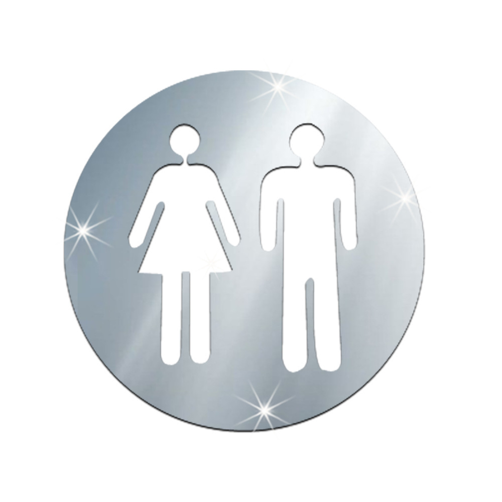 Woman&Man Toilet Sign Mirror Wall Sticker 3D Removable Bathroom Mirror Stickers for Home Hotel Washroom Door Sign Mirror Sticker