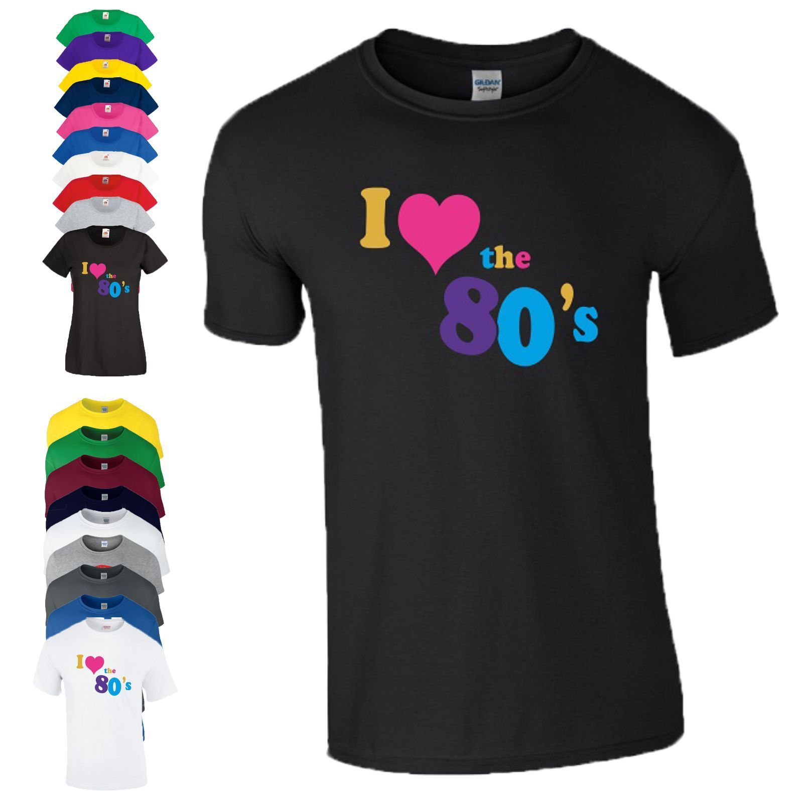 30a5d7f54f060 US $11.88 15% OFF|I Love 80's Slogan T Shirt Made In 80s Fancy Costume  Dress Party Gift Men Ladies Fashion T Shirts Summer Straight 100% Cotton-in  ...