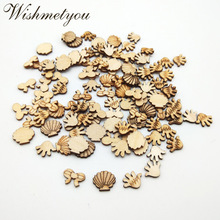 WISHMETYOU 50pcs Butterfly Knot Shell Palm Natural Wood Slices Embellishment Scrapbooking Wooden Crafts Home Decoration Making