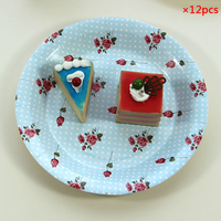 12Pcs Set Colorful Rose Flower Stripe Paper Plates For Christmas Birthday Wedding Party Disposable Tableware Party