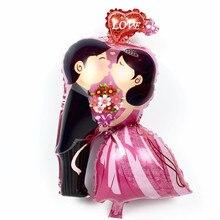 Düğün balonlar gelin ve damat öpücük aşk folyo balonlar şişme helyum balon sevgililer günü düğün dekorasyon hava topları
