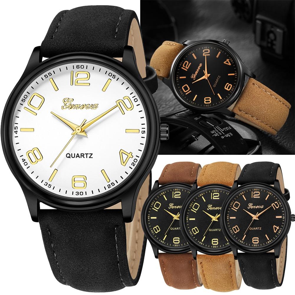 все цены на Retro Design Leather Band Watches Men Top Brand Relogio Masculino 2018 NEW Mens Sports Clock Analog Quartz Wrist Watches онлайн