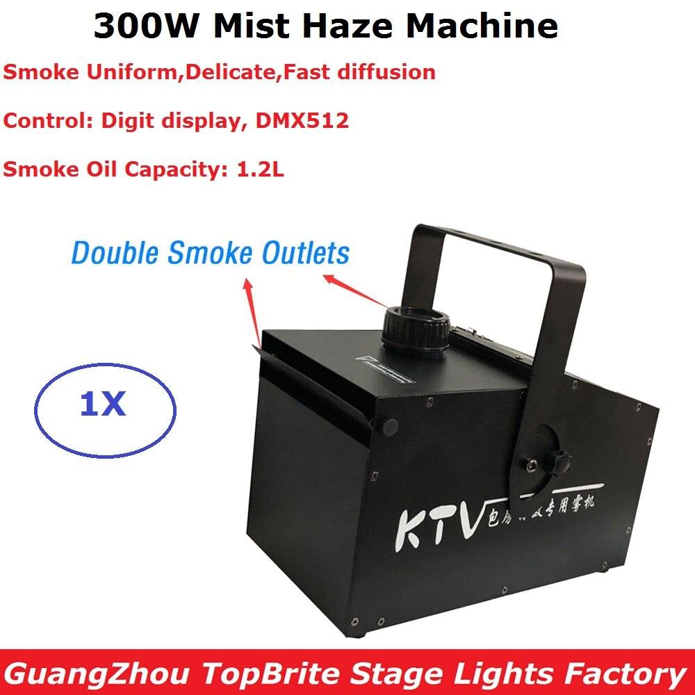 1XLot Double Smoke Outlets 300W Mist Haze Machine DMX Stage Smoke Machine 1 2L Oil Capacity