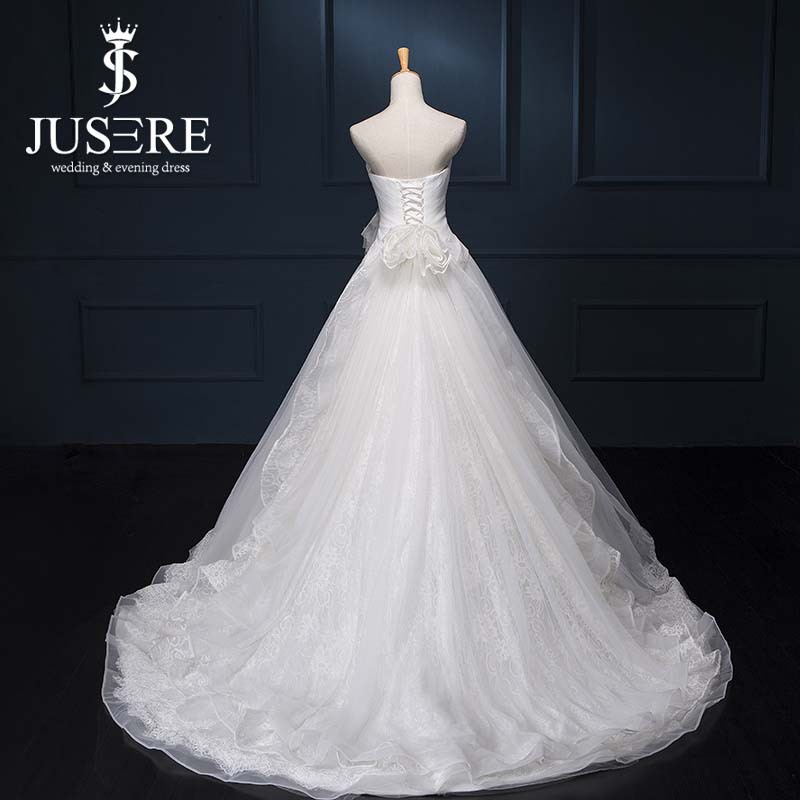 2016 A-line Limited Sale Vestidos De Noiva Jusere Bridal Wedding Gown Ruffled A Line Tulle Corset Bodice Court Train Lace Dress