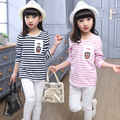 Spring Brand Girlt-shirt Toddler Long Sleeved Shirt Backing Tide Waist Korean Sleeve T-shirt Baby Girl Clothes Striped Clothing