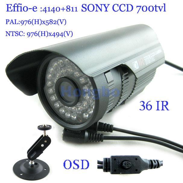 Security 1/3 Sony Effio CCD 700TVL OSD menu IR 30m outdoor waterproof CCTV camera with Bracket