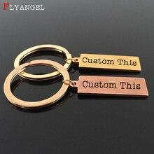 FLYANGEL Custom Keyring Engraved Date Sentence Words