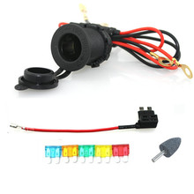 Waterproof Cigarette Lighter Power Socket Car Motorcycle with 60cm cords Add-a-circuit blade Fuse holder TAP Adapter medium ATM