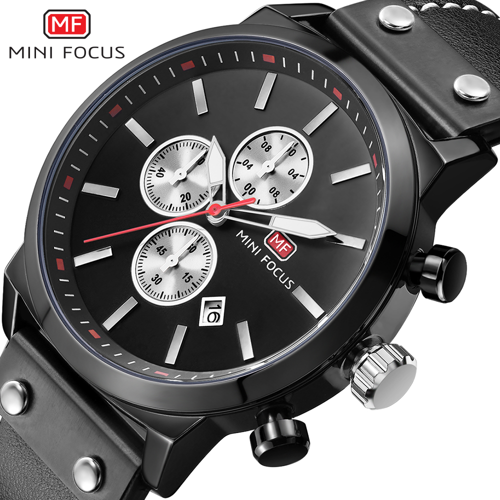 MINIFOCUS Fashion Casual Mens Watches Top Brand Luxury Leather Business Quartz-Watch Men Wristwatch Male Clock Relogio Masculino oulm mens designer watches luxury watch male quartz watch 3 small dials leather strap wristwatch relogio masculino