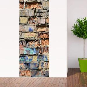 Image 1 - Pegatina de puerta de ladrillo de piedra clásica, cubierta de puerta de refrigerador DIY de templo Retro, pegatina de vinilo para nevera, pegatinas de pared autoadhesivas para Mural
