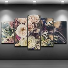 Canvas Poster Wall Art Prints Pictures 5 Pieces Rose Flowers Artistic Paintings Color Bouquets For Living Room Decor Framework(China)
