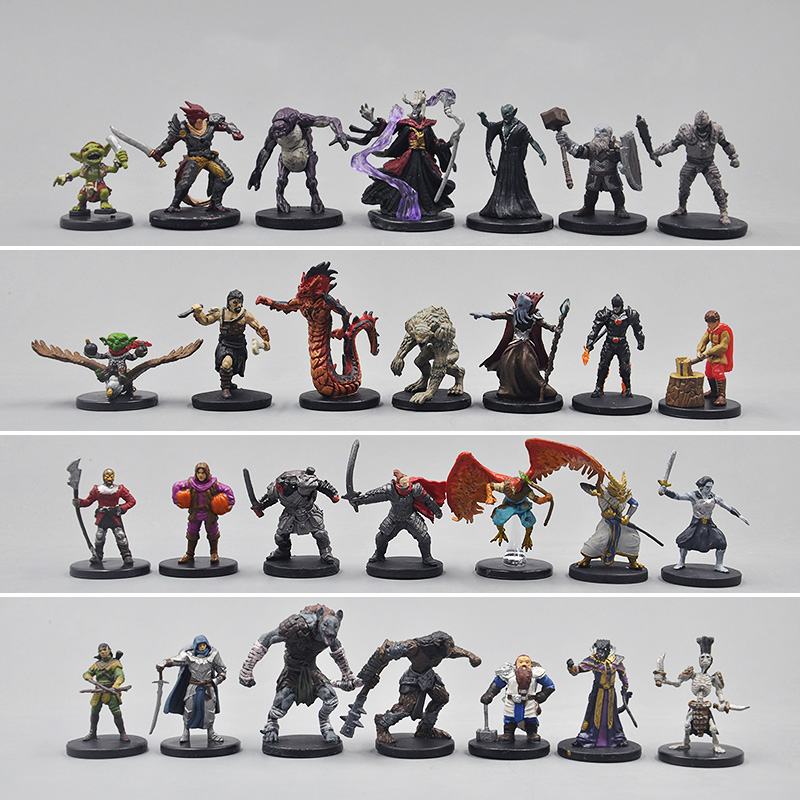 50pcs TRPG Miniature Game Elf Dwarf Warrior Priest Warlock Rogue Giant Dungeons Monster Undead Creature Beast Dragons Figure