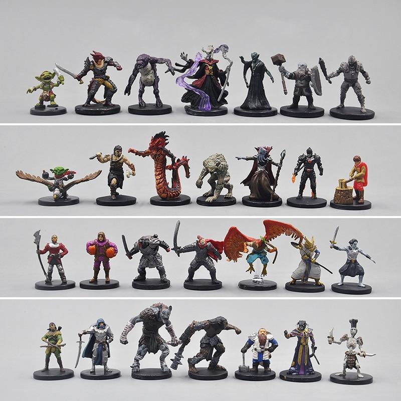 50pcs TRPG miniature game Elf dwarf warrior Priest Warlock Rogue Giant dungeons monster undead creature beast dragons figure