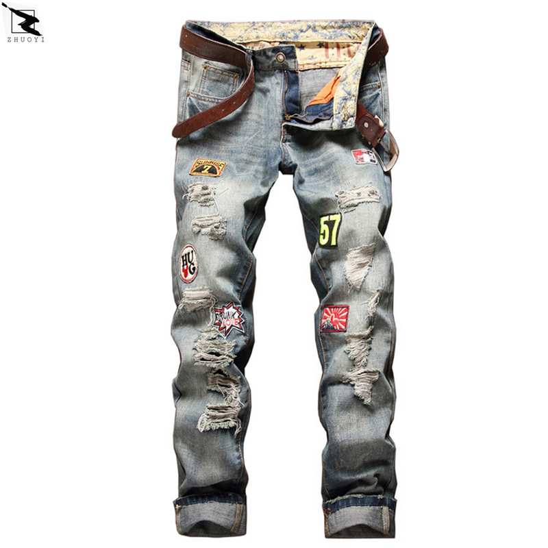 2017 new High quality men jeans Casual straight hole jeans men denim trousers biker jeans homme ripped jeans  new 2017 brand men s jeans casual straight hole men jeans men denim trousers biker jeans free shipping