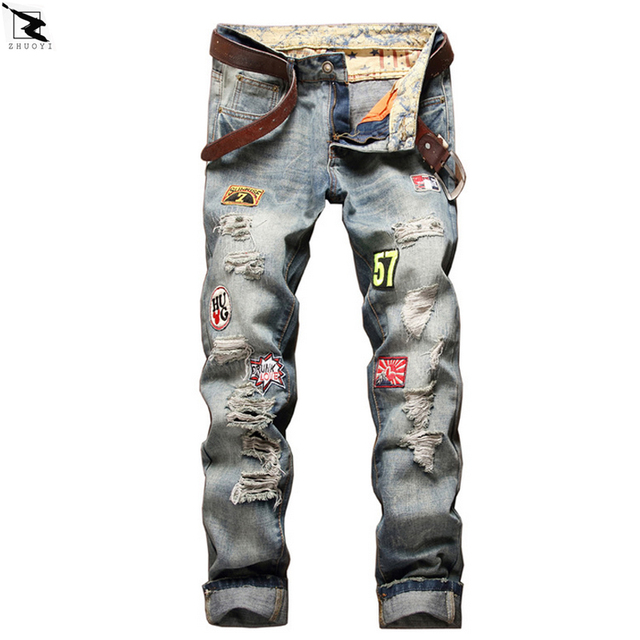 2017 new High quality men jeans Casual straight hole jeans men denim trousers biker jeans homme ripped jeans
