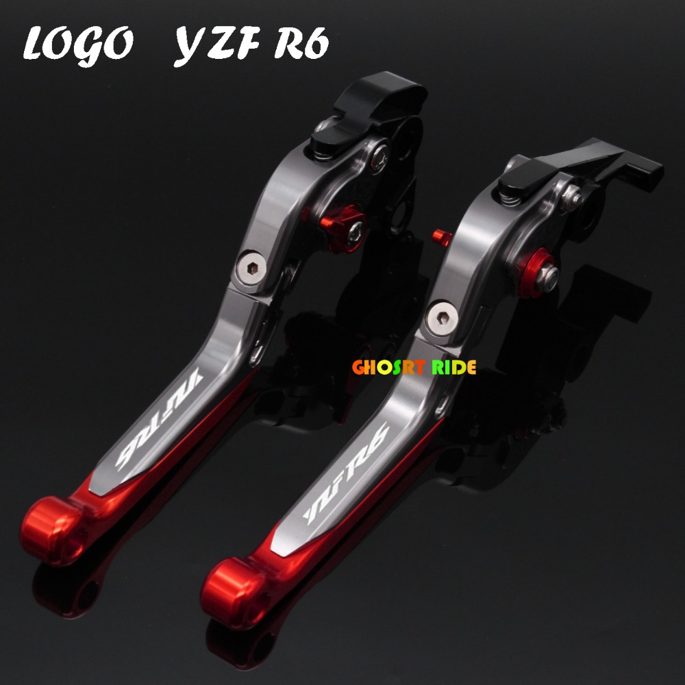 Motorcycle Brake Clutch Levers With Logo(YZF R6) For Yamaha YZF R6 2005 2006 2007 2008 2009 2010 2011 2012 2013 2014 2015 2016 6 colors cnc adjustable motorcycle brake clutch levers for yamaha yzf r6 yzfr6 1999 2004 2005 2016 2017 logo yzf r6 lever